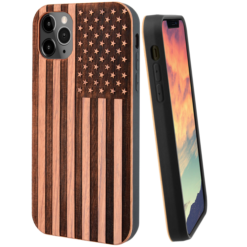 American Flag Red Cherry Wood Case Optional Screen Protector or Car Mount