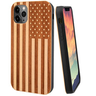 US American Flag Engraved in Cherry Wood for iPhone and Galaxy Phones (Light Cherry Wood)
