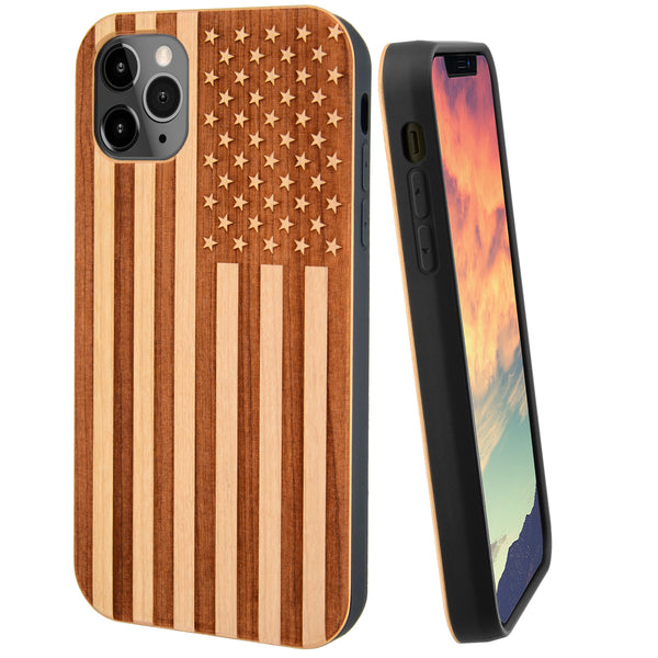 American Flag Engraved in Cherry Wood for iPhone and Galaxy Phones (Light Cherry Wood)