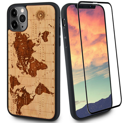 World Map Wood Case Includes Glass Screen Protector or Magnetic Car Mount