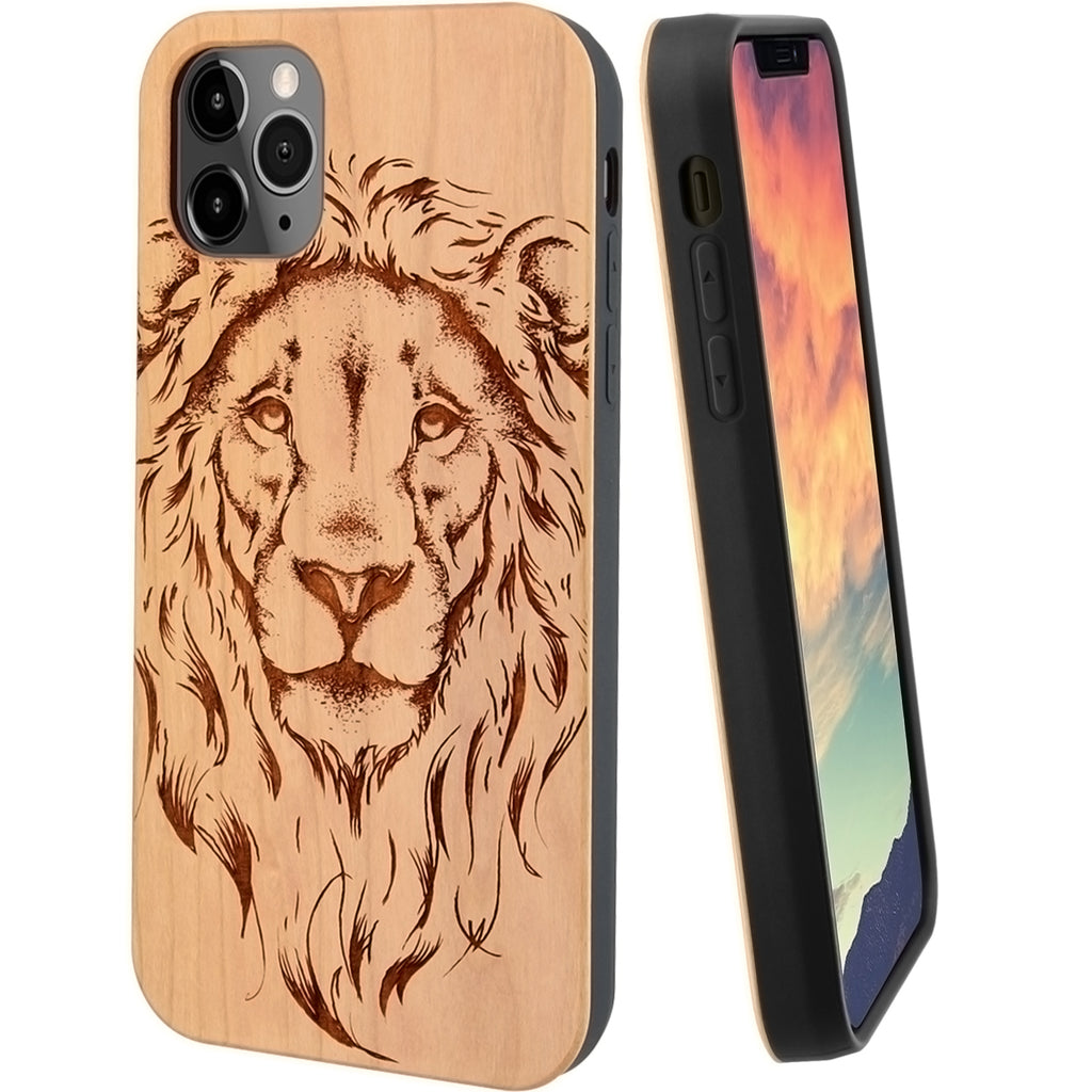 Lion Cherry Wood Phone Case Include Screen Protector or Magnetic Car Mount - iProductsUS