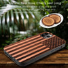 American Flag Red Cherry Wood Case Optional Screen Protector or Car Mount - iProductsUS
