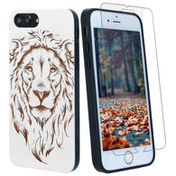 Lion White Wood Phone Case offers Screen Protector or Magnetic Car Mount