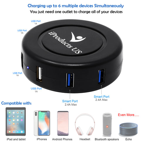 6 Ports USB Charging Station with Intelligent Identification Technology for iPhone or Android Earbuds Bluetooth Speaker and Multiple Devices
