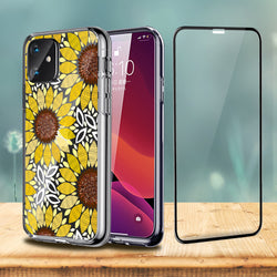 3D Sunflower Floral Clear iPhone Case Includes Screen Glass Protector - iProductsUS