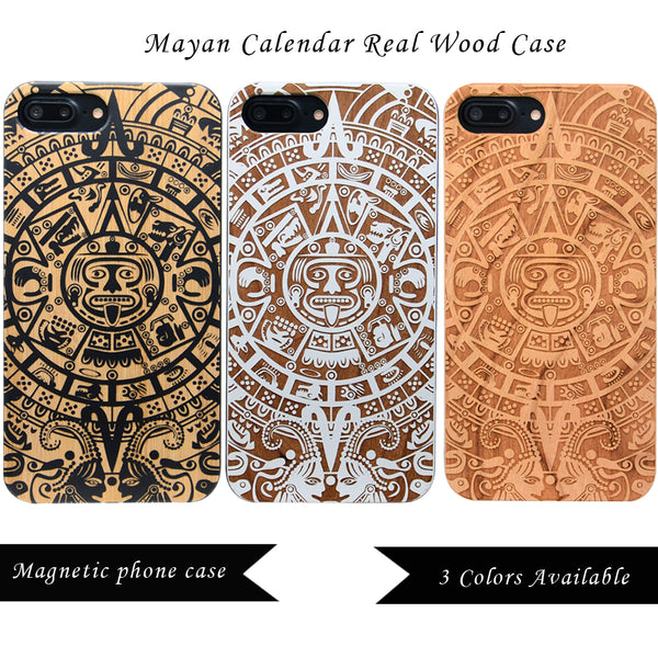 Mayan Calendar iPhone Case in Black, White, Cherry Wood with Car Mount or Protective Glass iPhone 6 ,7, 8, Plus, X