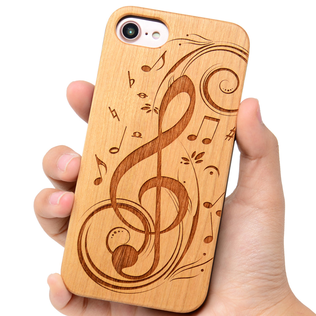 Music Note Wood Phone Case offers  Glass Screen Protector or Car Magnetic Mount