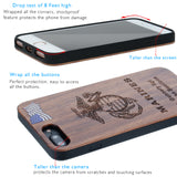 Marines Phone Case with Rank / Name Engraved Dark Cherrywood Protective Case iPhone 6, 7, 8, PLUS, X, XS, XS MAX, XR Cases