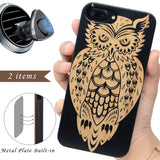 Black Bamboo Wood Owl Phone Case by iProdcuts US
