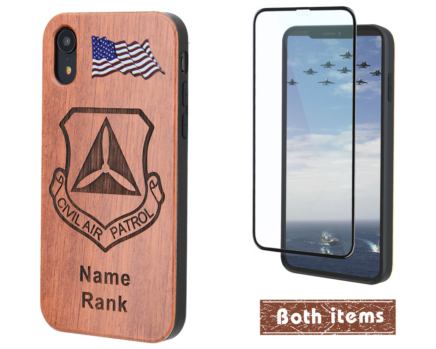 U.S. Civil Air Patrol Wood Phone Case with Name/Rank for iPhone and Galaxy - iProductsUS