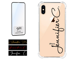 Personalized Signature Name Clear Case Compatible for iPhones Includes Screen Protector
