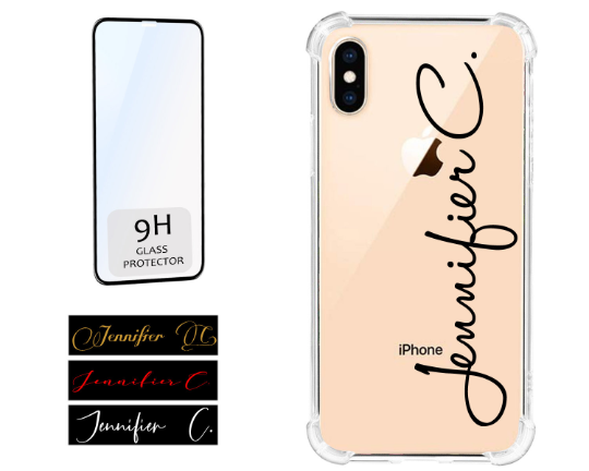 Signature Name Clear Phone Case offers Screen Protector