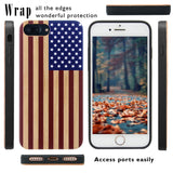 Color 3D Printed on Wood USA Flag Case for iPhone 6,6S,7,8,PLUS, and X by iProducts US