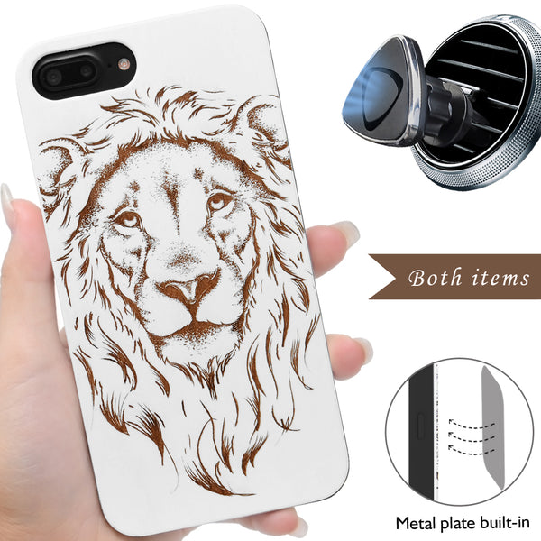 White Lion Wood Case by iProducts US Compatible for iPhone