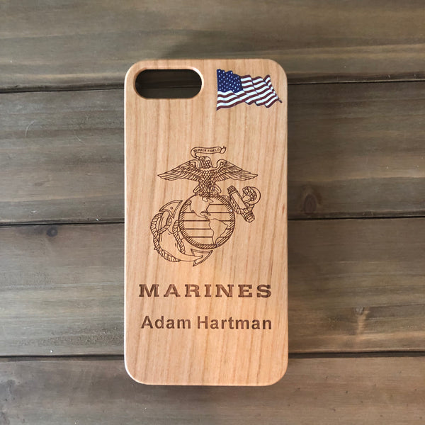 Marines Phone Case with Rank / Name Engraved Wood Case for iPhone 6, 7, 8, PLUS, X, XS, XS MAX, XR, Marine Corps