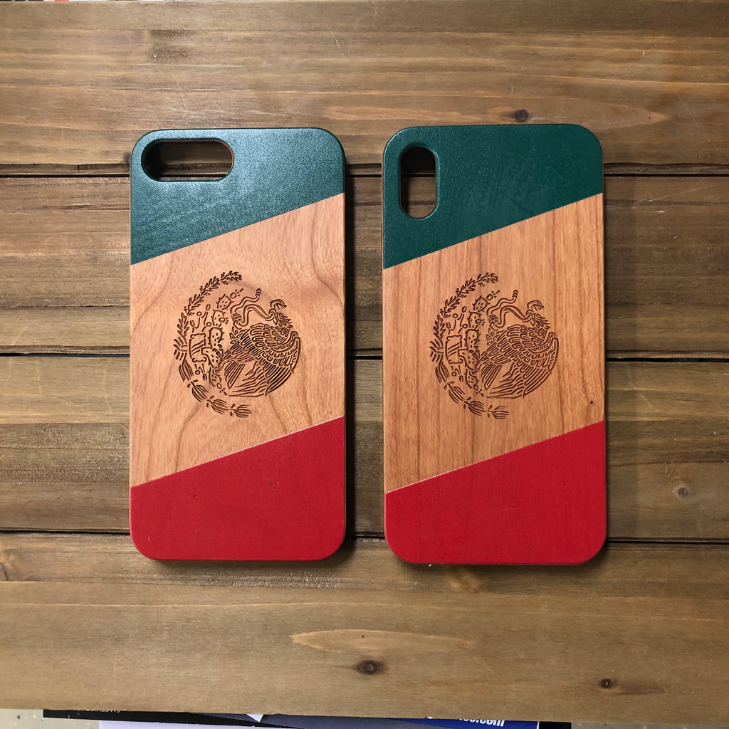 Mexico Color Flag Wood Phone Case Optional Accessories - iProductsUS
