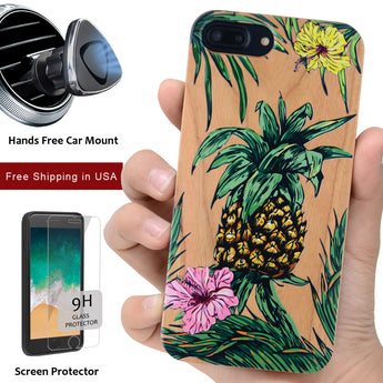 Pineapple 3D Color Wood Case with Magnetic Car Mount or 9H Glass Cover for iPhone 6, 6S, 7, 8, Plus, X, XS, XS Max, XR by iProducts US