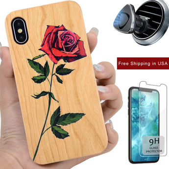 3D Red Rose Wooden Phone Case by iProdcuts US