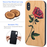 Red Rose Wood Phone Case with Car Mount or Glass Protector for iPhone