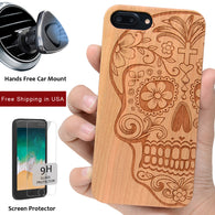 Sugar Skull Wood Phone Case Offers Screen Protector or Magnetic Car Mount - iProductsUS