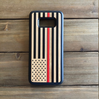 Thin Red Line USA Flag Engraved Phone Case for Samsung Galaxy Note with Optional Accessories