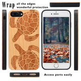 Turtle Wood Engraved iPhone Case, Car Mount or Protective Glass for iPhone 6,6S,7,8, Plus, X, XS, XS Max, XR by iProducts US