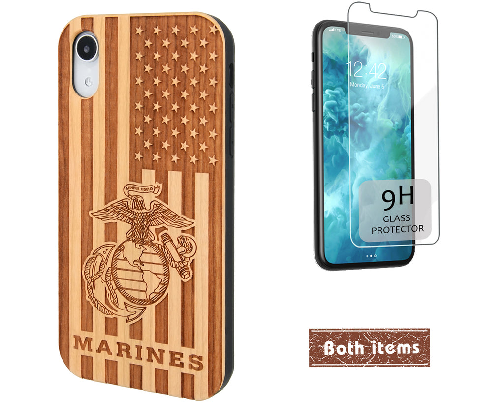 US Marines Wood Flag Phone Case Personalized with Name / Rank for iPhone and Galaxy Cases.