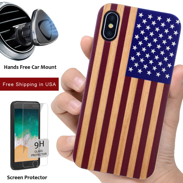 American Flag Case Offers Screen Protector or Magnetic Car Mount for iPhone or Samsung Phones - iProductsUS