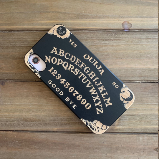 Ouija Spirit Board Wood Phone Case includes Glass Screen Protector or Magnetic Car Mount