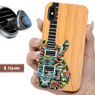 Music Guitar Color Wood Phone Case Personalized with Offers Magnetic Car Mount  or Screen Protector