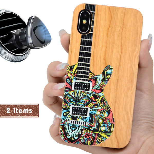 Music Guitar Color Wood Phone Case Personalized with Offers Magnetic Car Mount  or Screen Protector - iProductsUS