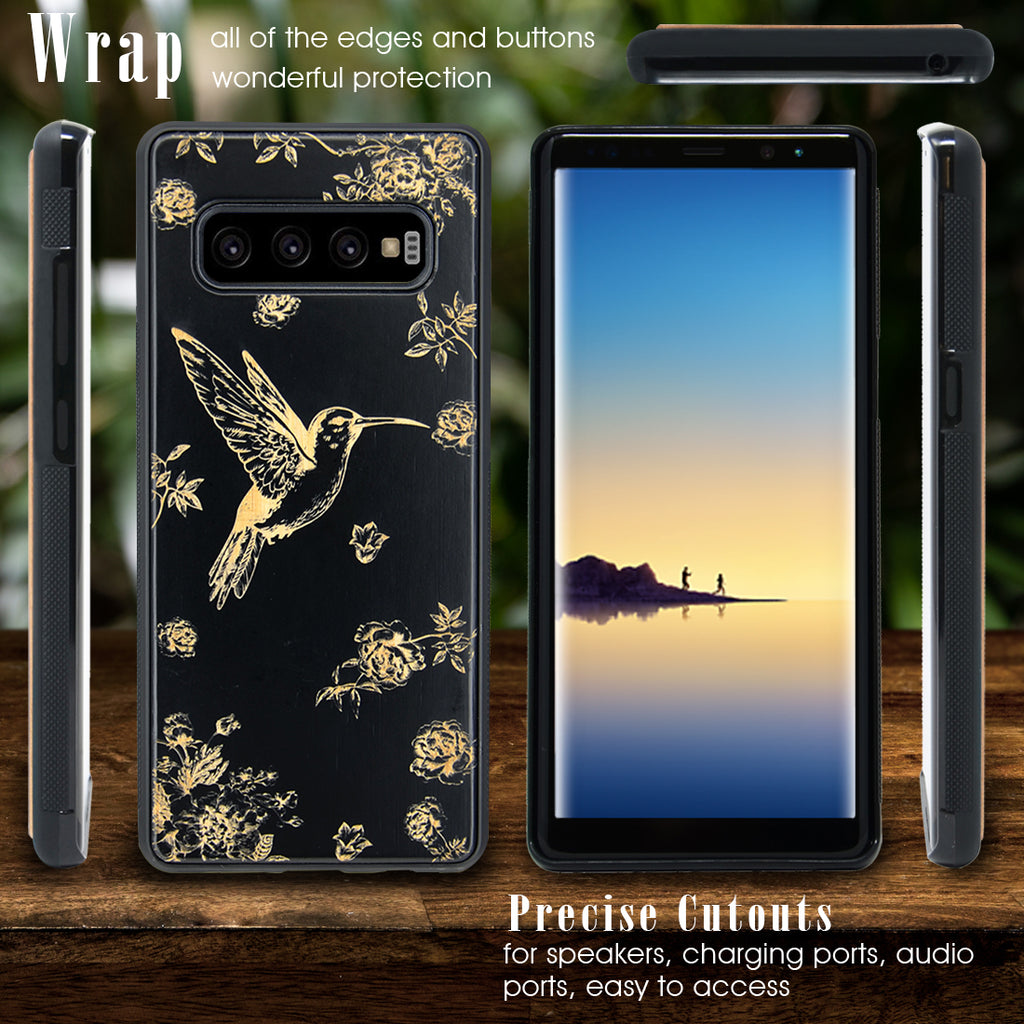 Hummingbird Engraved Phone Case for Samsung Galaxy Note with Optional Accessories