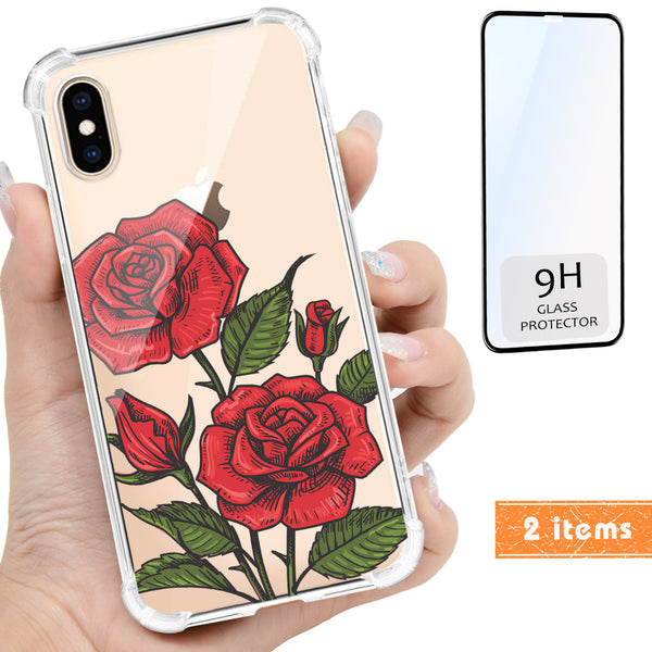 3D Rose Floral Clear iPhone Case Includes 9H Screen Protector, Protective Case - iProductsUS