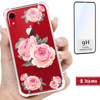 Pink Rose Floral iPhone Clear 3D Case includes Glass Screen Cover, Protective Case