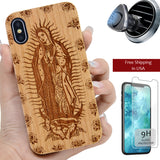 Virgin Mary Wood Personalized iPhone Case with Magnetic Car Mount or Screen Protector