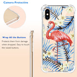 3D Flamingo Bird Floral Clear iPhone Case Includes 9H Glass Cover, Protective Case