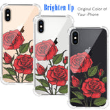 3D Rose Floral Clear iPhone Case Includes 9H Screen Protector, Protective Case
