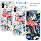 Flamingo Bird Floral Clear iPhone Case