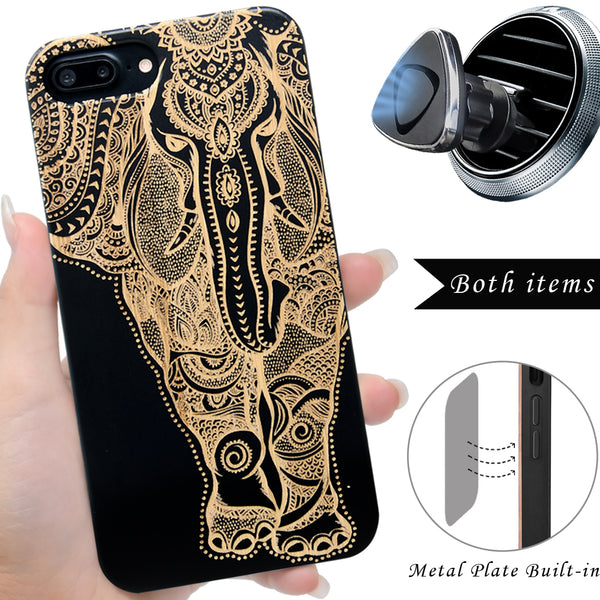 Elephant Black Wood Engraved Case by iProducts US