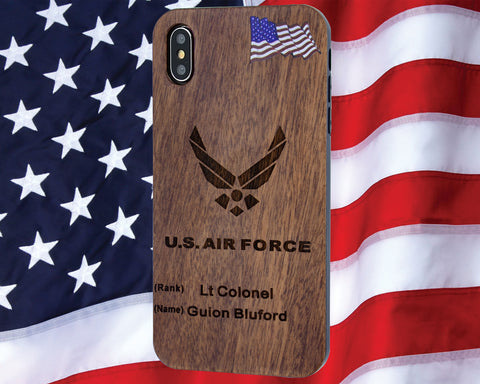 Air Force Phone Case with Rank / Name Engraved Dark Cherrywood Protective Case iPhone 6, 7, 8, PLUS, X, XS, XS MAX, XR Cases