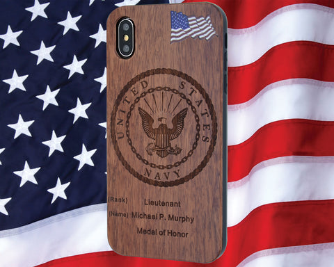 Navy Phone Case Engraved Wood