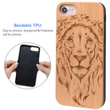 Lion Wooden Engraved Protective Case for iPhone 6, 6S, 7, 8, Plus, X, XS, XS Max, XR by iProducts US