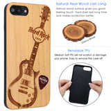 Hard Rock Cafe Guitar Wood Phone Case for iPhone's Personalized Case, Wireless Charging Compatible