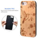 Hummingbird Wood Engraved Case, Car Mount or Protective Glass for iPhone 6,6S,7,8, Plus, X by iProducts US