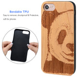 Panda Wooden Engraved Case, Car Mount or Protective Glass for iPhone 6,6S,7,8, Plus, X by iProducts US