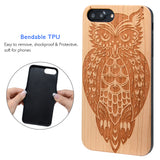 Owl Engraved Wood Case, Car Mount or Protective Glass for iPhone 6, 6S, 7, 8, Plus, X, XS, XS Max, XR by iProducts US