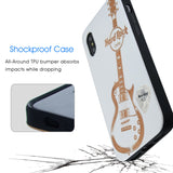Hard Rock Cafe Guitar Phone Case White for iPhone 6,6s,7,8, PLUS, XS, X, XR, Max, Shockproof Protective Case, Wireless Charging
