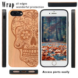 Skull Wood Engraved iPhone Case with Car Mount or Protective Glass for iPhone 6, 6S, 7,8, Plus, X, XS,XS Max, XR by iProducts US