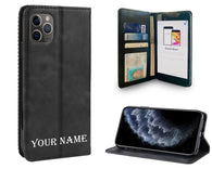 Black Leather Wallet Personalized Phone Case with Screen Protector for iPhones