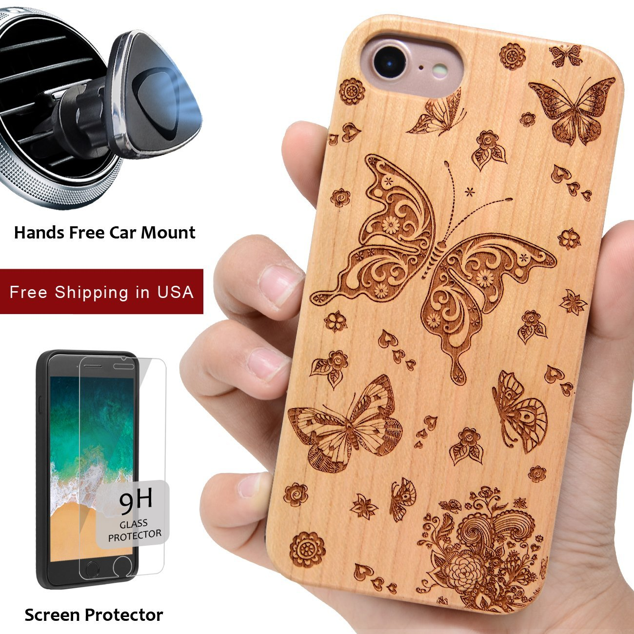 Butterfly Wood iPhone Case Includes Screen Protector or Magnetic Car Mount - iProductsUS